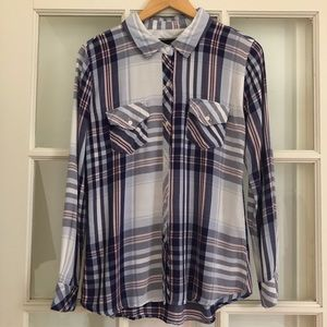 Rails long sleeve blue white pink plaid button up